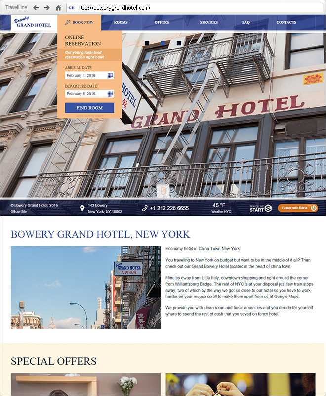 Website of Bowery Grand Hotel